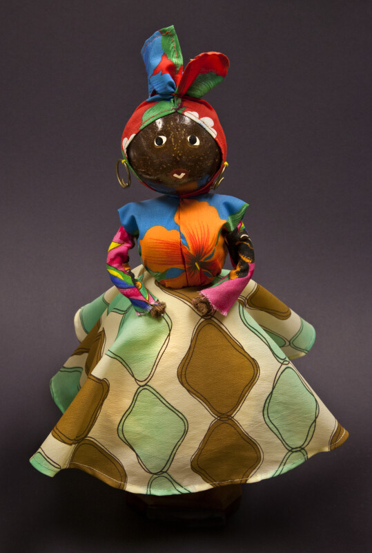 Barbados Hand Made Female Doll from Barbados with Coconut Head (Full View)