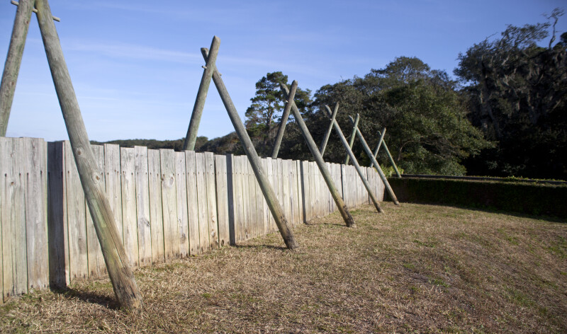 Beams and Boards Which Comprise a Wall of the Reconstructed Fort Caroline Site