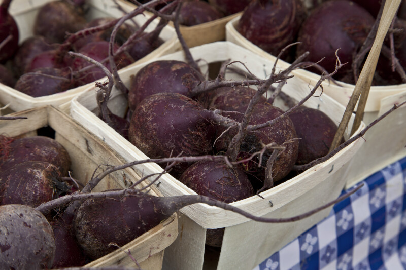 Beets in Small, Wooden Containers