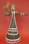Belarus Female Doll Made with a Cardboard Cone, Wood Bead and Wheat Fibers, (Full View)