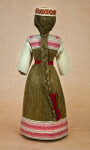 Belarus Hand Made Doll with Long Braid Made from Natural Fibers and Head Band of Decorative Ribbon (Back View)