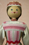 Belarus Lady from White Russia with a Wooden Bead for a Head and Hand Painted Facial Features (Close Up)