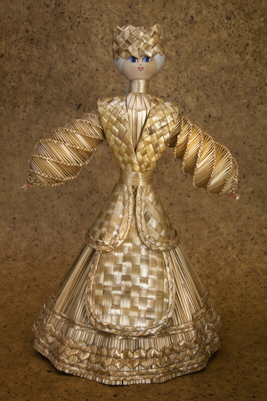 Belarus Straw Figurine of a Woman with an Apron and Headband (Full View)