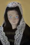 Belgium Hand Painted Ceramic Face of Belgium Lace Maker Doll (Facial Close Up View)