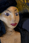 Belgium Rod Puppet with Hand Painted Face, Black Velvet Hat and Yellow Feather (Close Up)