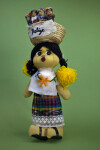 Belize Female Doll Made from Stuffed Cloth, Yarn Buttons, Lace, and Leather (Fu