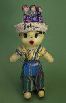 Belize Handcrafted Male Doll Wearing Bright Woven Vest, Pants, and Apron (Full View)