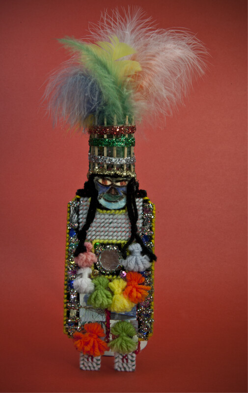 Bermuda Gombey Dancer Made from Needlepoint, Glitter, Feathers, Mirrors, Yarn, and Sticks (Full View)