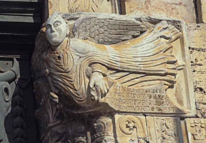 Bevagna, San Michele, west portal, right impost, Archangel Gabriel