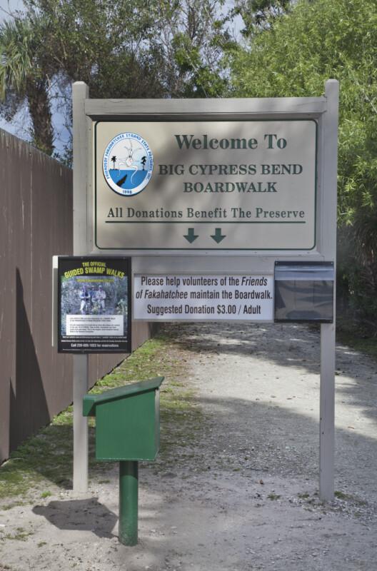 Big Cypress Bend Boardwalk Welcome Sign