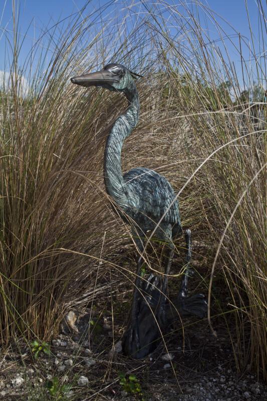 Bird Sculpture in Brush