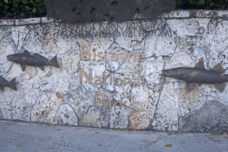 Biscayne National Park Sign and Bronze Fish