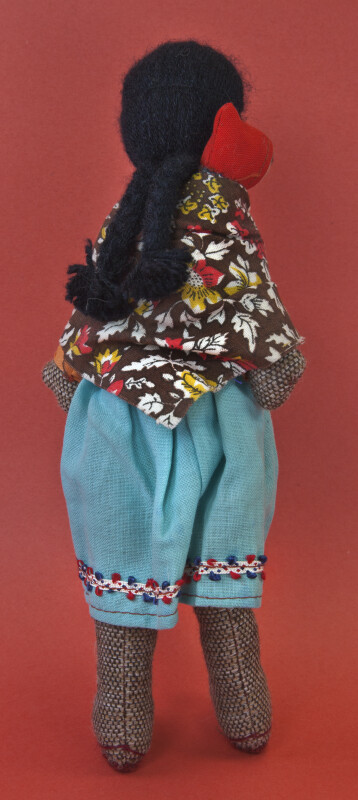 Bolivia Handcrafted Doll of Woman Made of Stuffed Woven Material. (Back View)