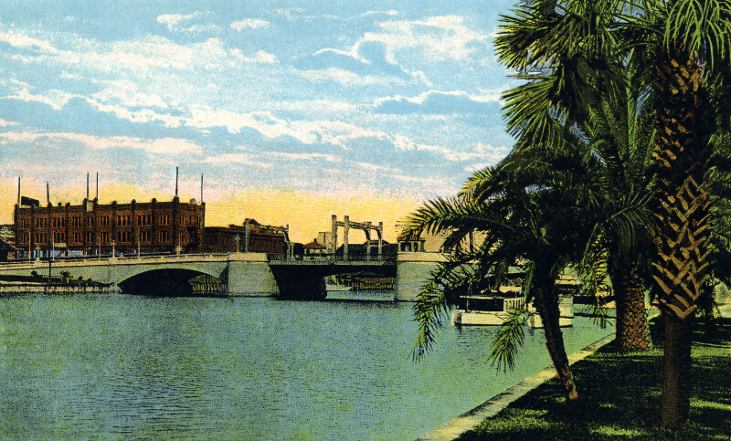 Bostains Hotel and Lafayette Street Bridge from Plant Park