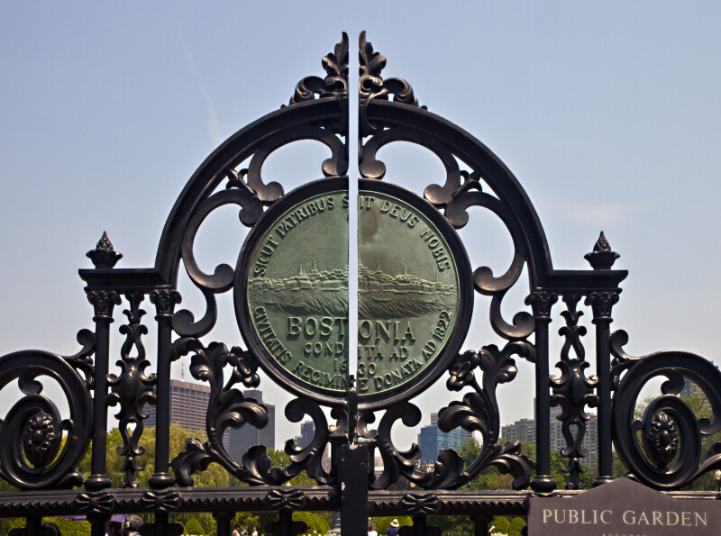 Boston City Seal on the Arlington Street Entrance Gate of the Boston Public Garden