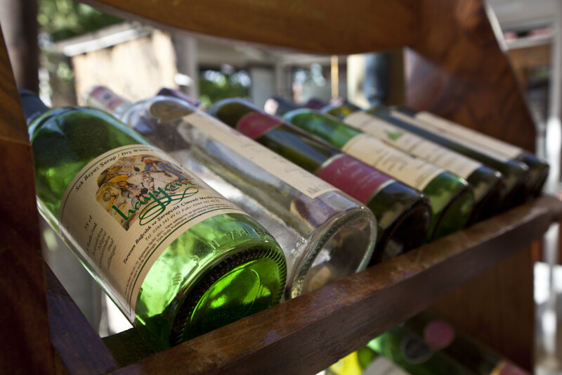 Bottles of Wine in a Wooden Rack