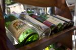 Bottles of Wine in a Wooden Rack