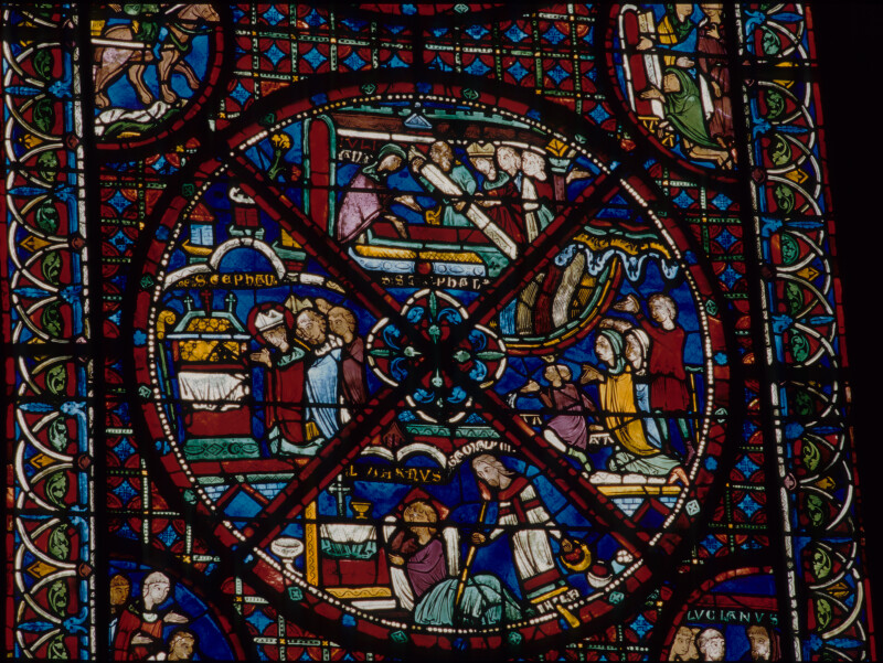 Bourges Cathedral, Ambulatory Window of the Relics of St. Stephen, Veneration of the Saint's Shrine