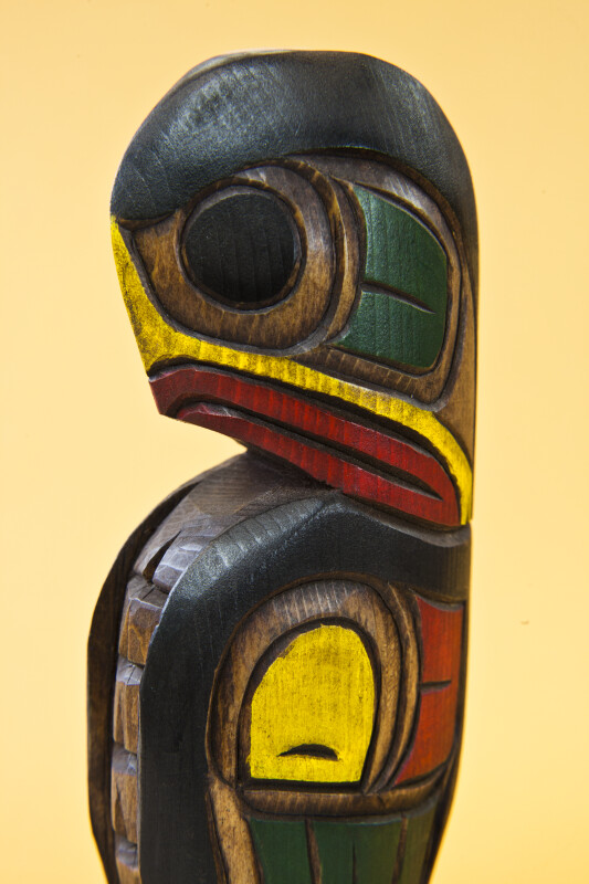 British Columbia, Canada, Handcrafted Eagle  by Kwakuitl First Nations (Close Up)