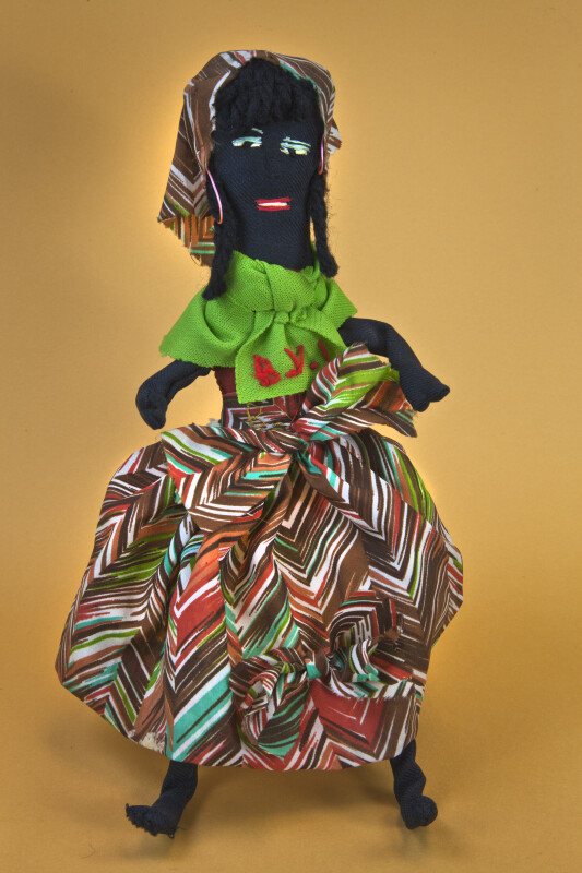 British Virgin Islands Handcrafted Figure of Woman Made with Fabric and Wire (Full View)