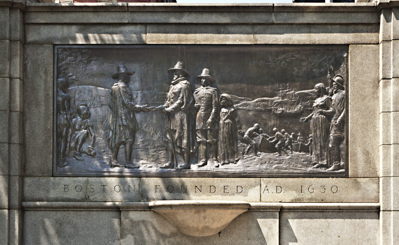 Bronze Bas-Relief on the Founders' Memorial at Boston Common