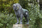 Bronze Lion Statue on Platform