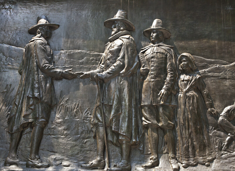 Bronze Low Relief on the Founders' Memorial at Boston Common