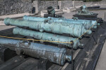 Bronze, Oxidized Cannons of Various Sizes