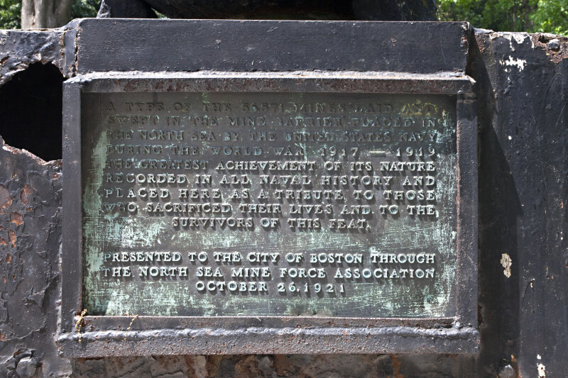 Bronze Plaque on the Mine Sweepers Memorial at Boston Common