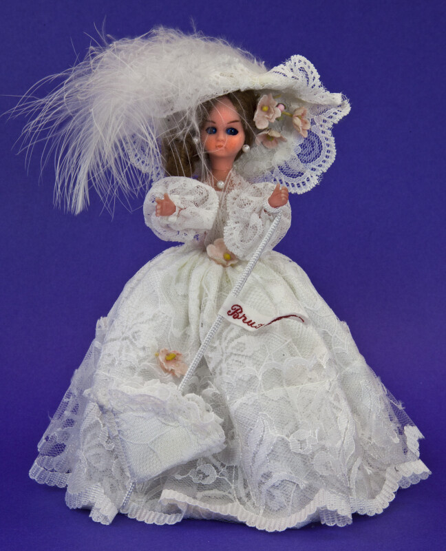 Brussels Doll with Elegant Lace Dress and Parasol (Full View)