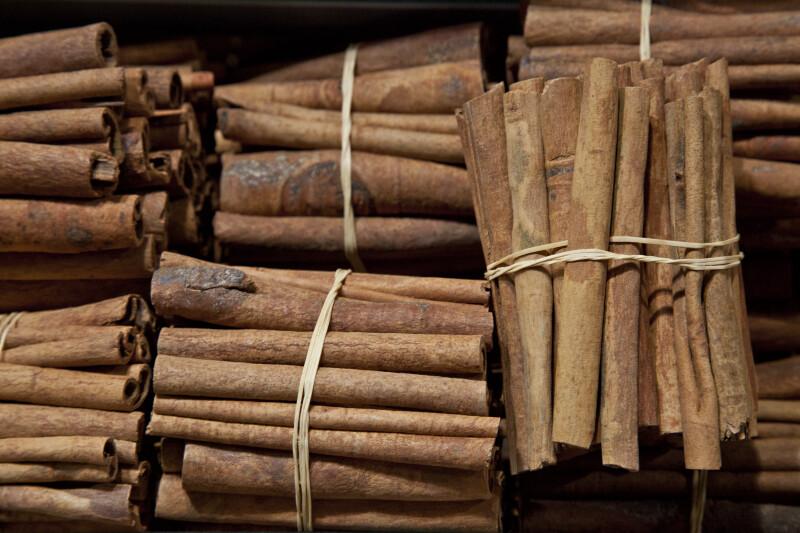 Bundles of Cinnamon Sticks at the Spice Bazaar in Istanbul, Turkey