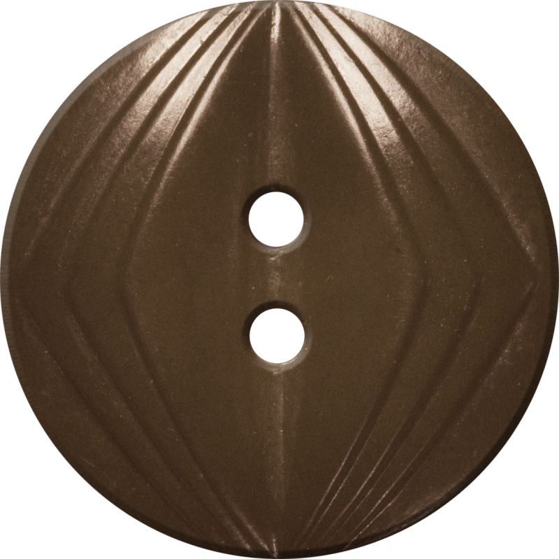 Button with Concentric Diamond Design, Brown
