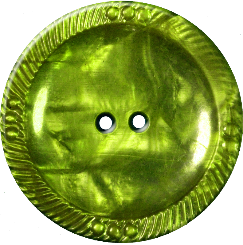 Button with Decorative Border, Chartreuse