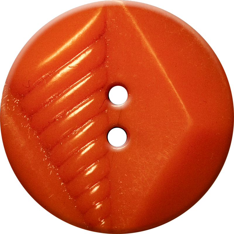 Button with Diamond and Diagonal Line Design, Red-Orange