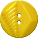 Button with Diamond and Diagonal Line Design, Yellow