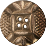 Button with Diamond Mesh and Leaf Pattern, Copper