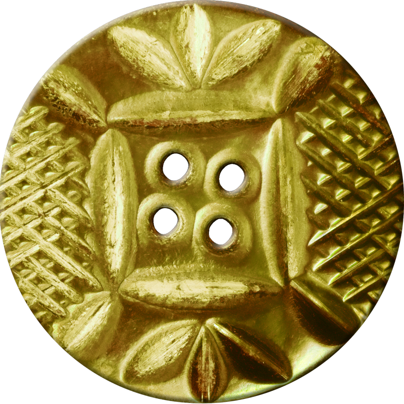 Button with Diamond Mesh and Leaf Pattern, Gold