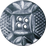 Button with Diamond Mesh and Leaf Pattern, Silver