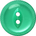 Button with Incised Border and Almond-Shaped Center, Blue-Green