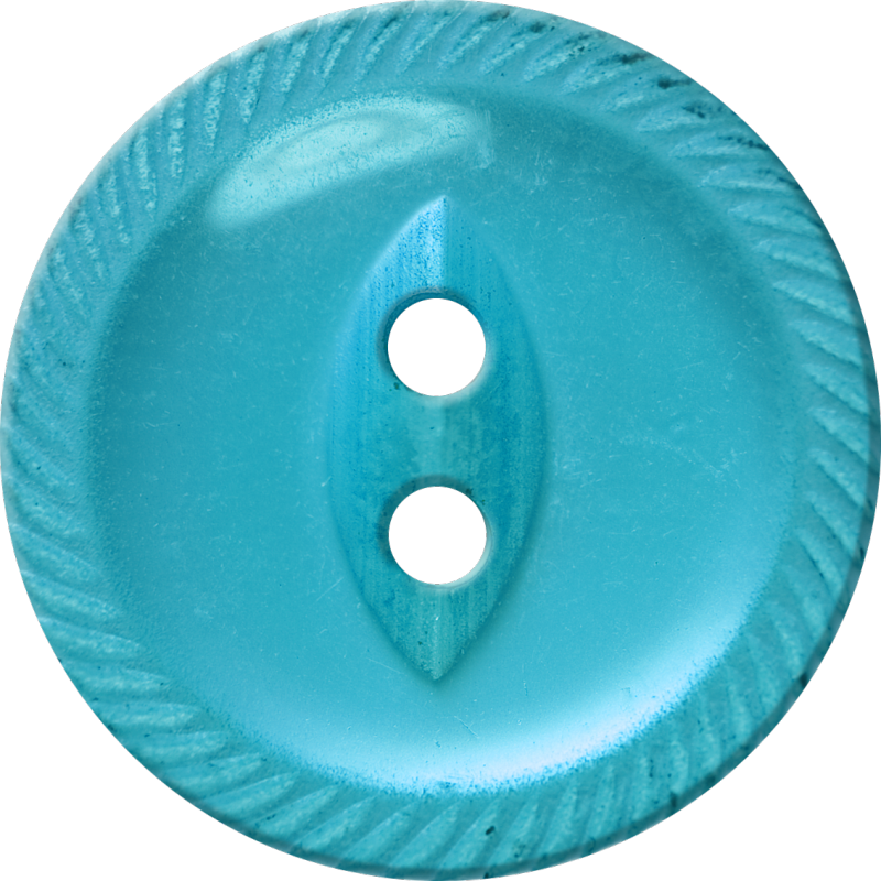 Button with Incised Border and Almond-Shaped Center, Blue