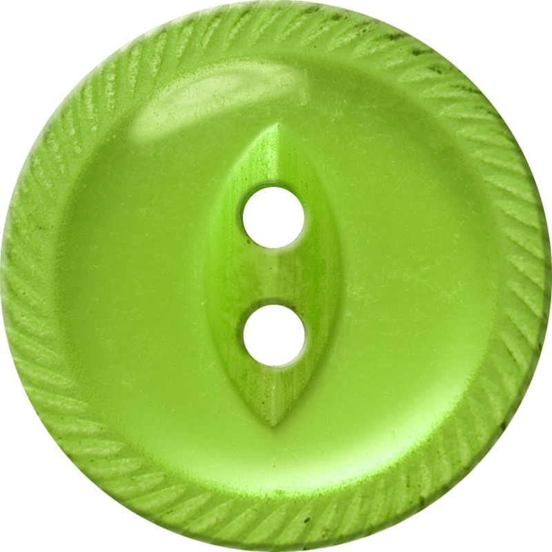 Button with Incised Border and Almond-Shaped Center, Yellow-Green