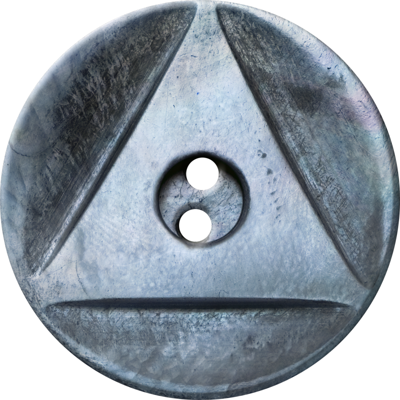 Button with Inscribed Triangle, Blue-Grey