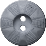Button with Radial Grid Design, Grey