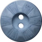 Button with Radial Grid Design, Light Blue