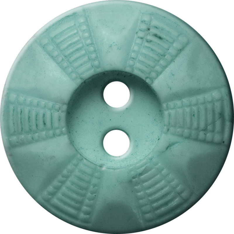 Button with Radial Grid Design, Light Turquoise