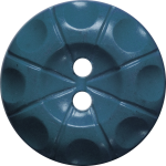 Button with Radial Line and Circle Design, Blue