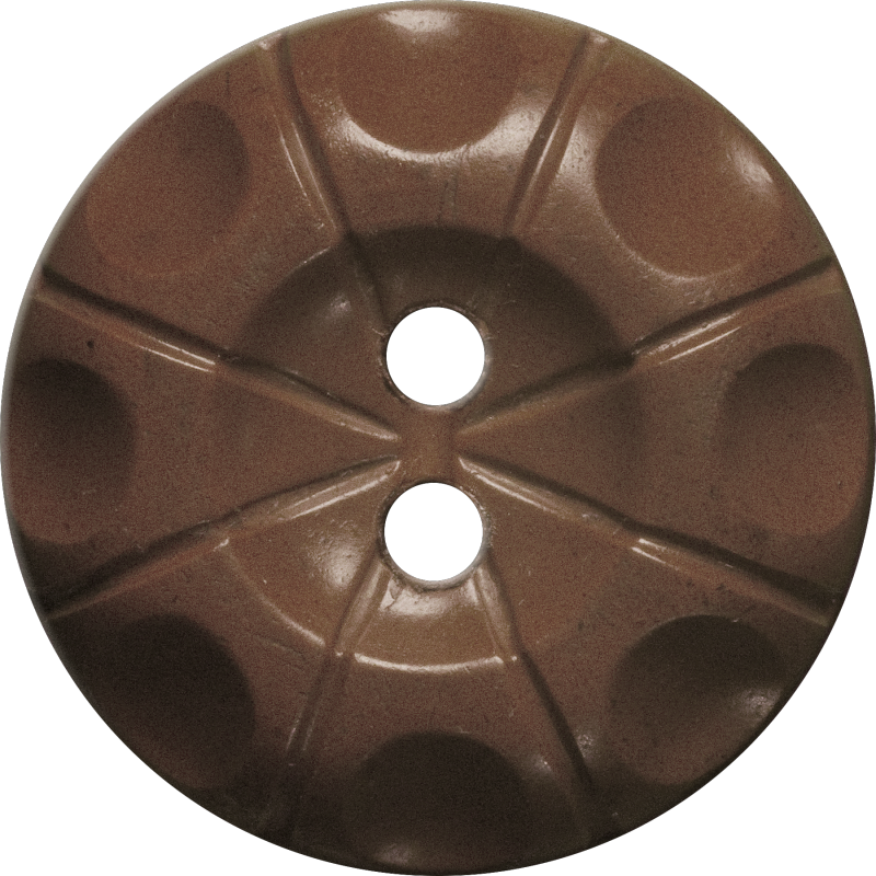 Button with Radial Line and Circle Design, Brown