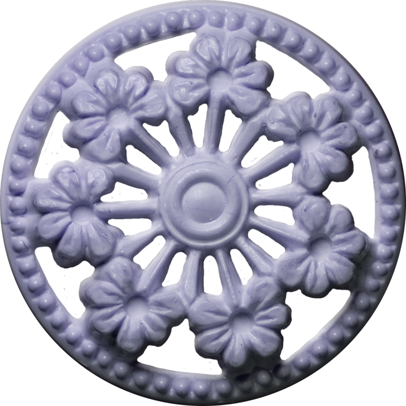 Button with Seven Flowers and Cut-Outs, Lavender