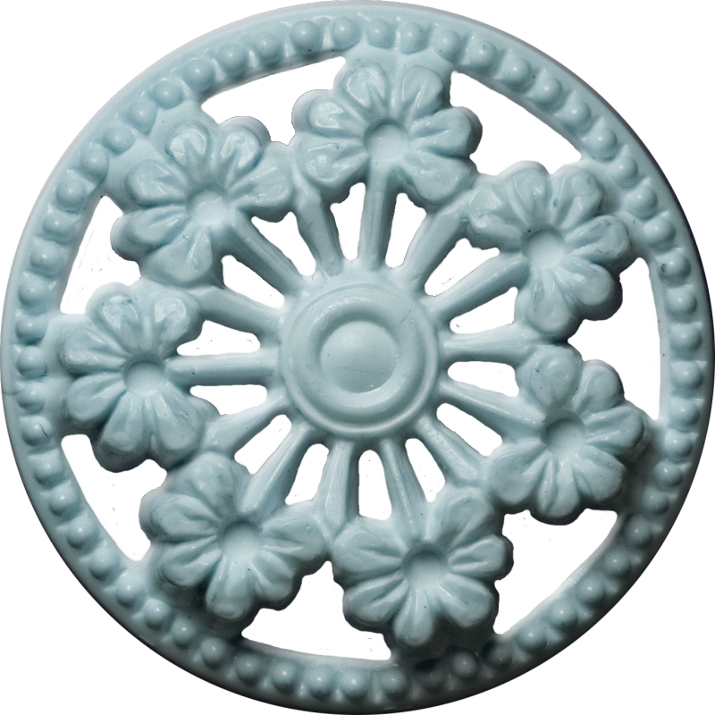 Button with Seven Flowers and Cut-Outs, Light Blue