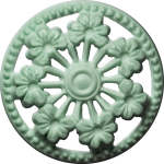 Button with Seven Flowers and Cut-Outs, Light Green
